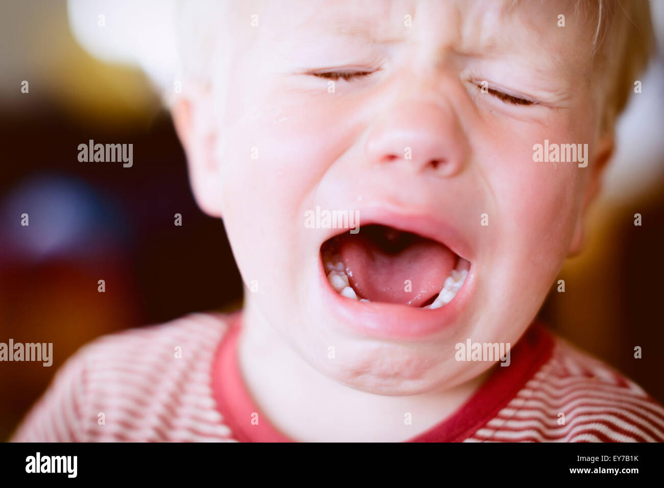 Young infant boy, 2 years, crying. - Stock Image