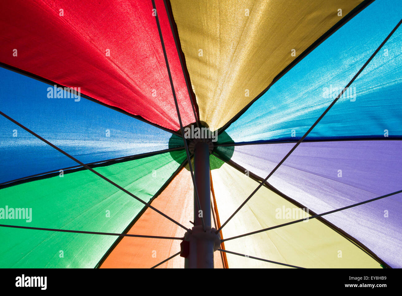 A Colorful Rainbow Colored Beach Umbrella Seen From Below