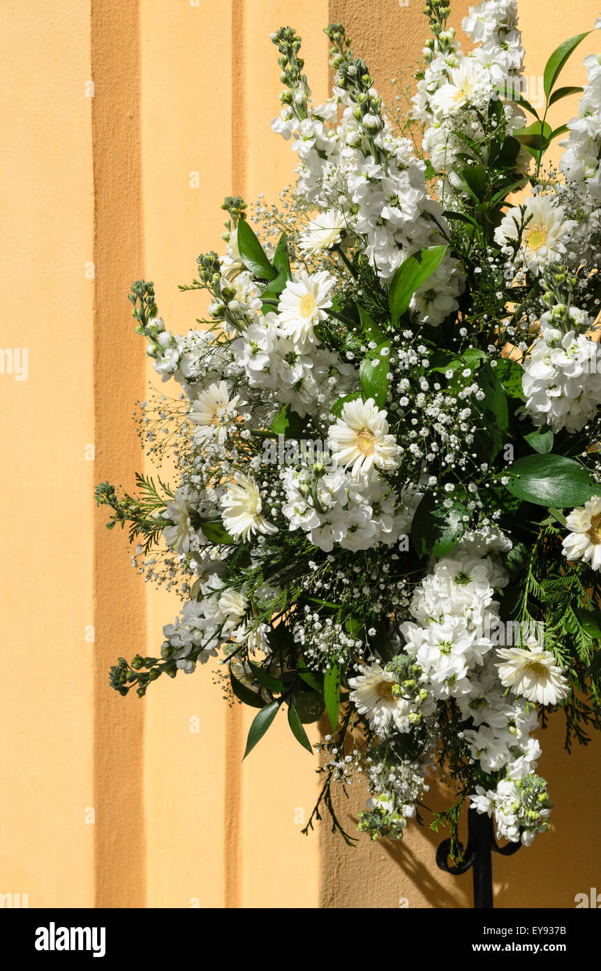 Floral Arrangement of Chrysanthemum and Gypsophila. - Stock Image
