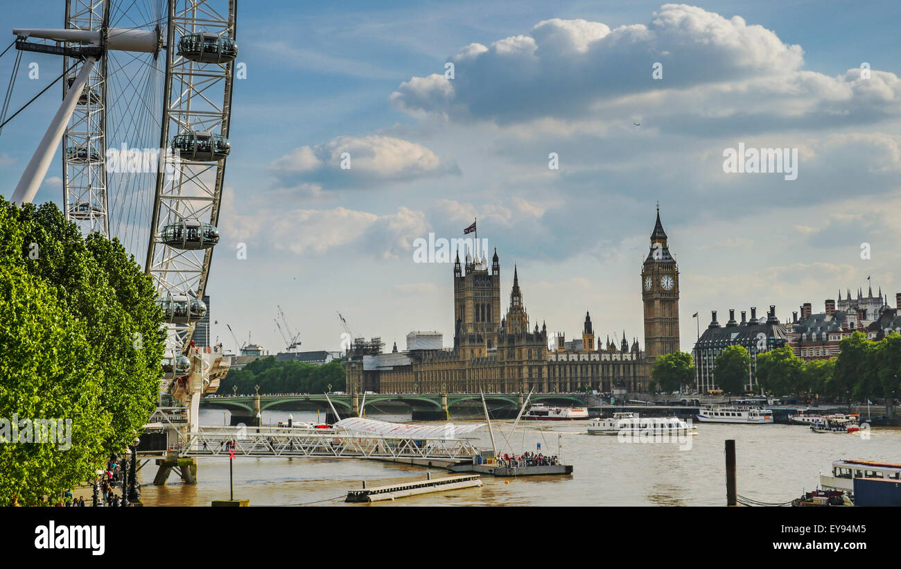 London Eye, Big Ben and Houses of Parliament in London City at sunset - Stock Image