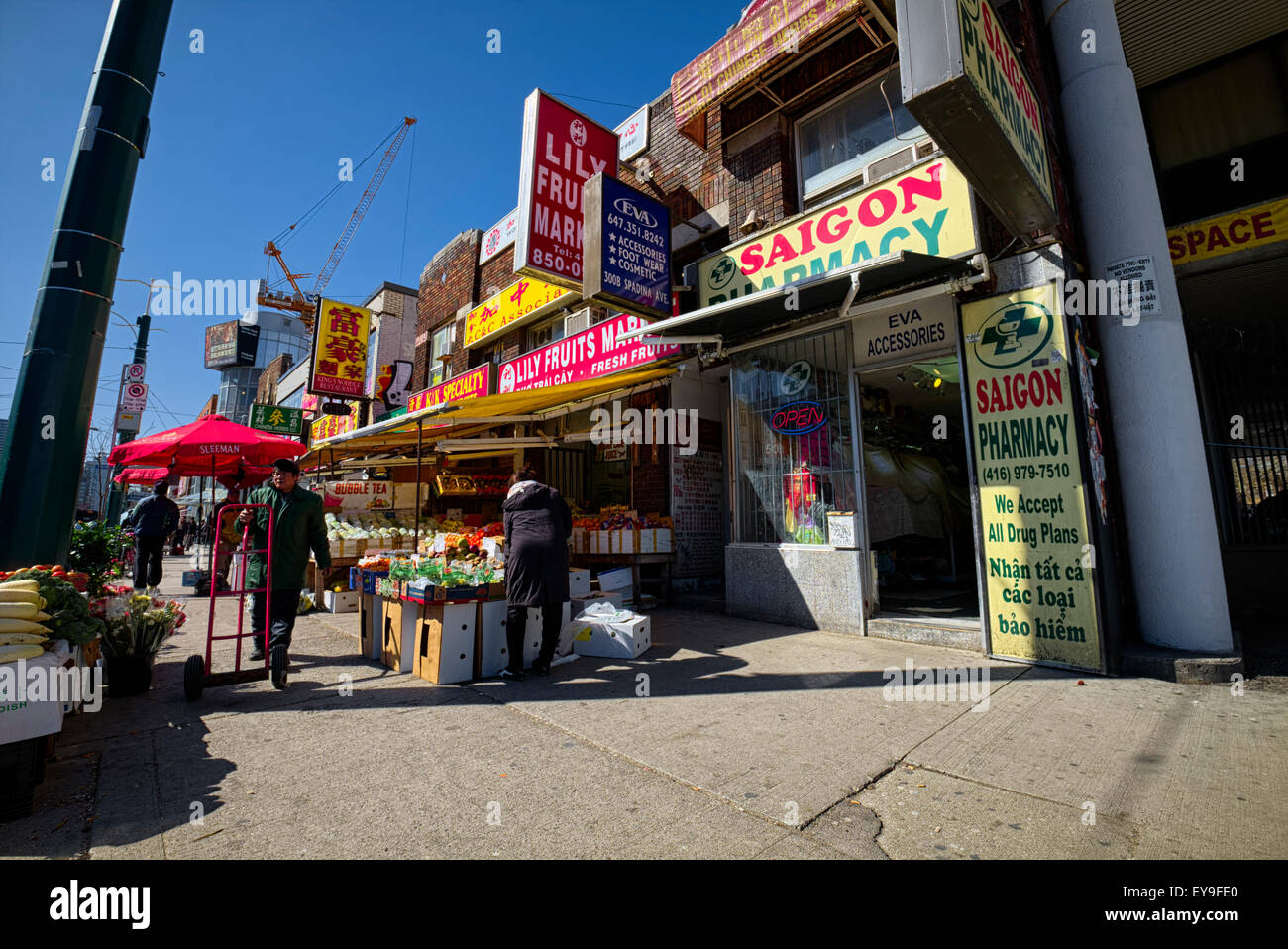 China town stalls, Toronto city, ON, CA - Stock Image