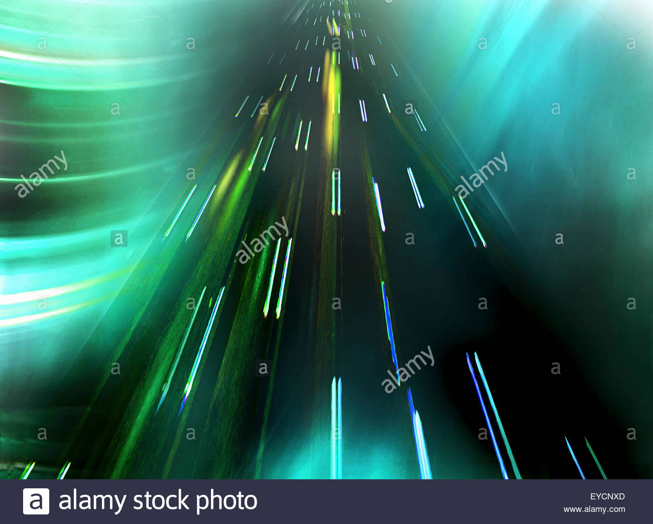 Abstract pattern of light trails moving up - Stock Image