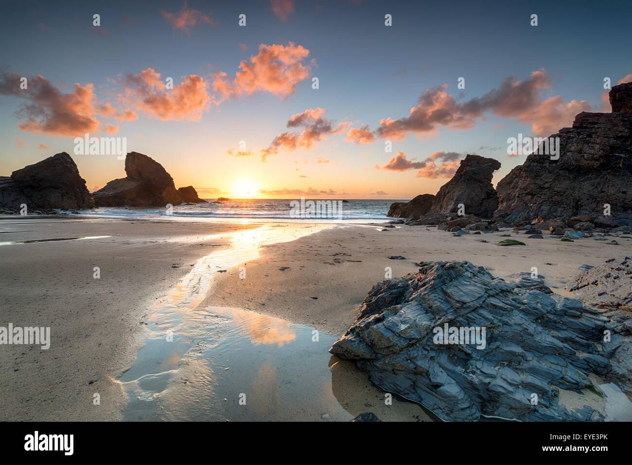 Sunset at Porthcothan bay on the north Cornwall coast - Stock Image
