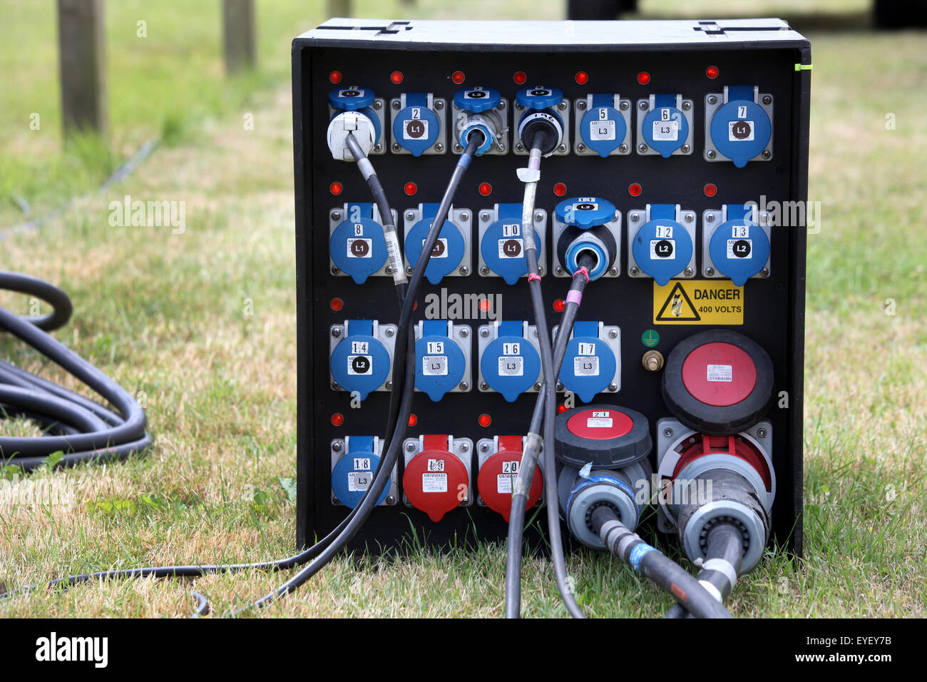 Outdoors electricity power management junction box at an outdoor event - Stock Image