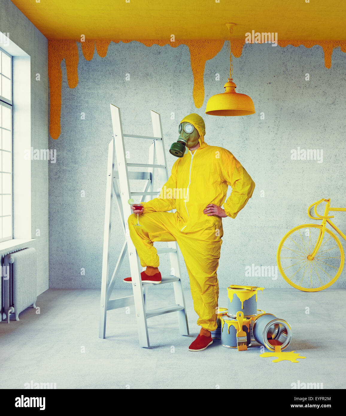 yellow painter - Stock Image