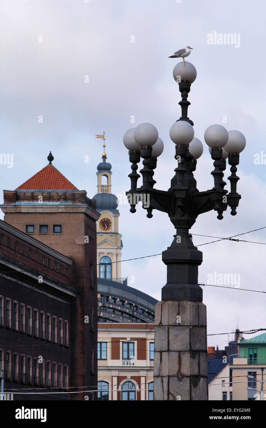 Layering different styles and eras in the history and architecture of the Latvian capital Riga - Stock Image