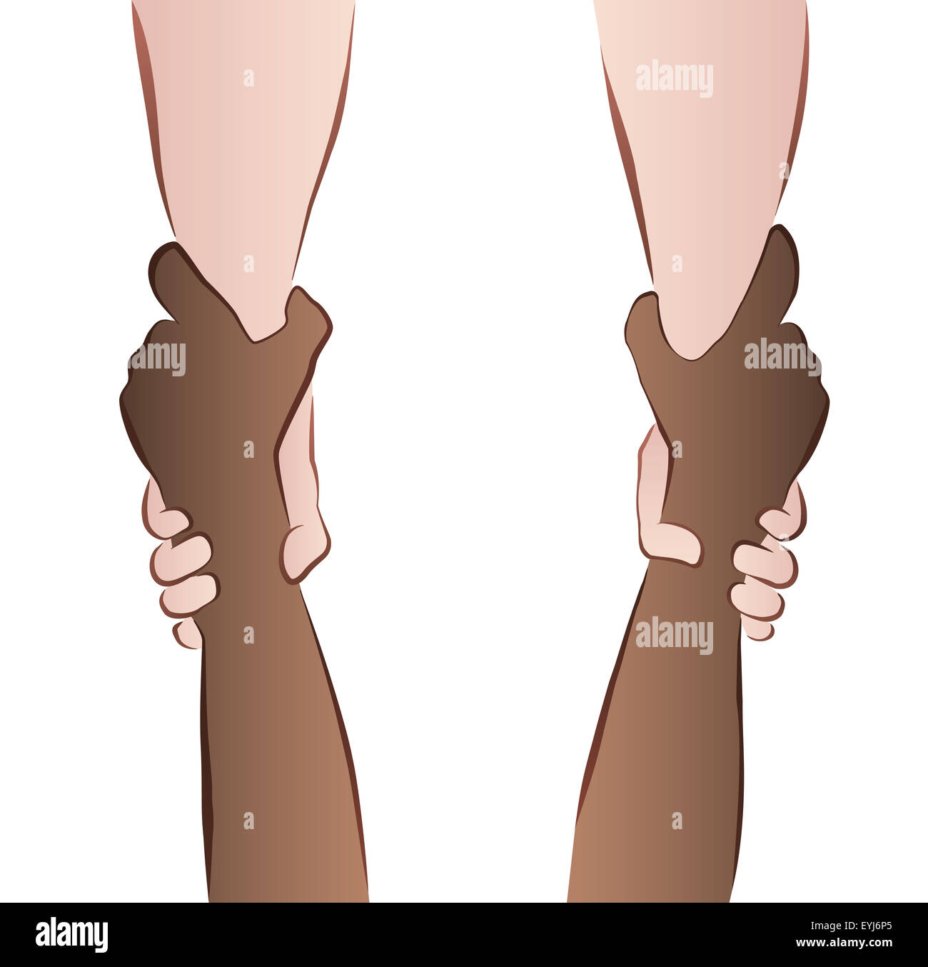 Interracial cooperation - saving hands - rescue grip. Illustration on white background. - Stock Image