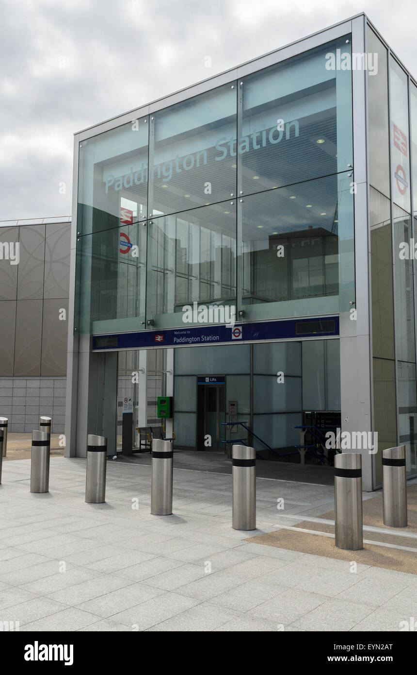 The entrance to Paddington Station from Paddington Basin, London, England, UK - Stock Image