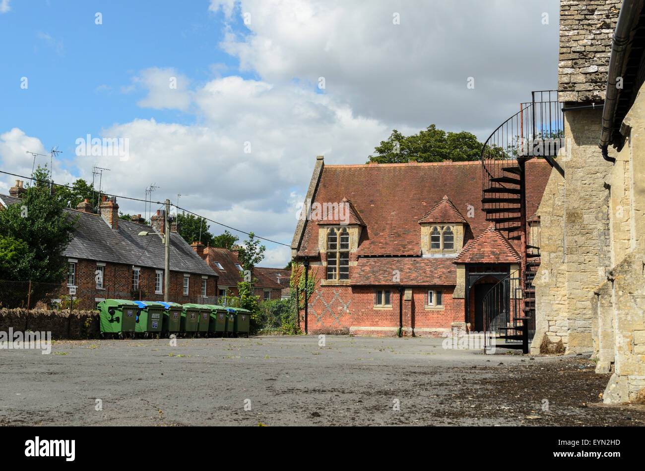 A schoolyard at King Alfred's School, Wantage, Oxfordshire, England, UK - Stock Image
