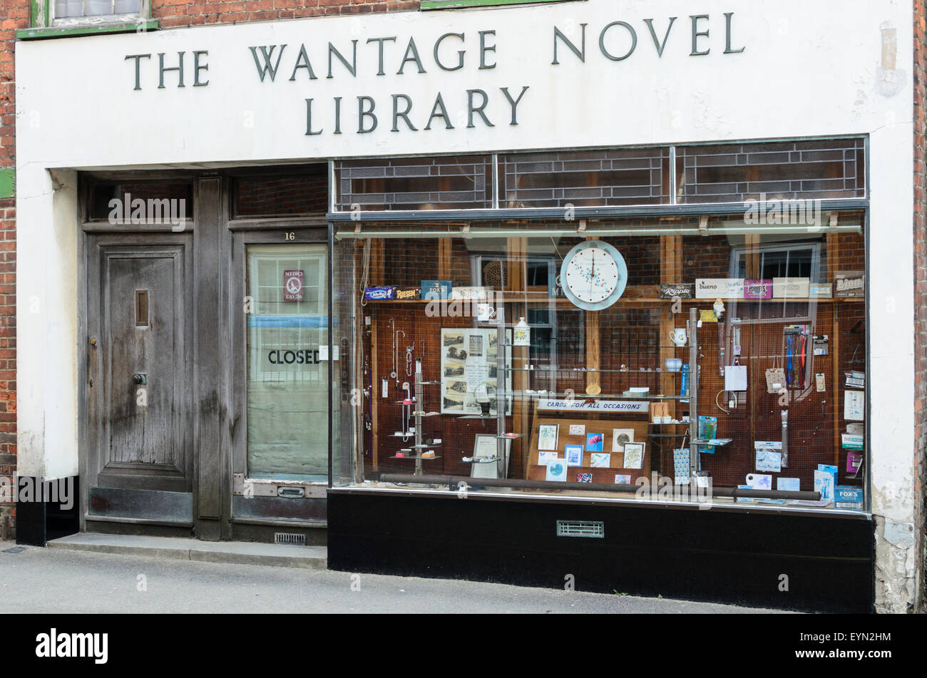 The Wantage Novel Library Shop in Wantage, Oxon, England, UK - Stock Image