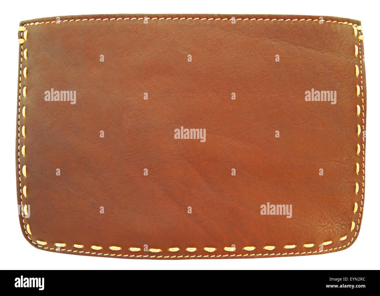 Brown leather and stitch - Stock Image