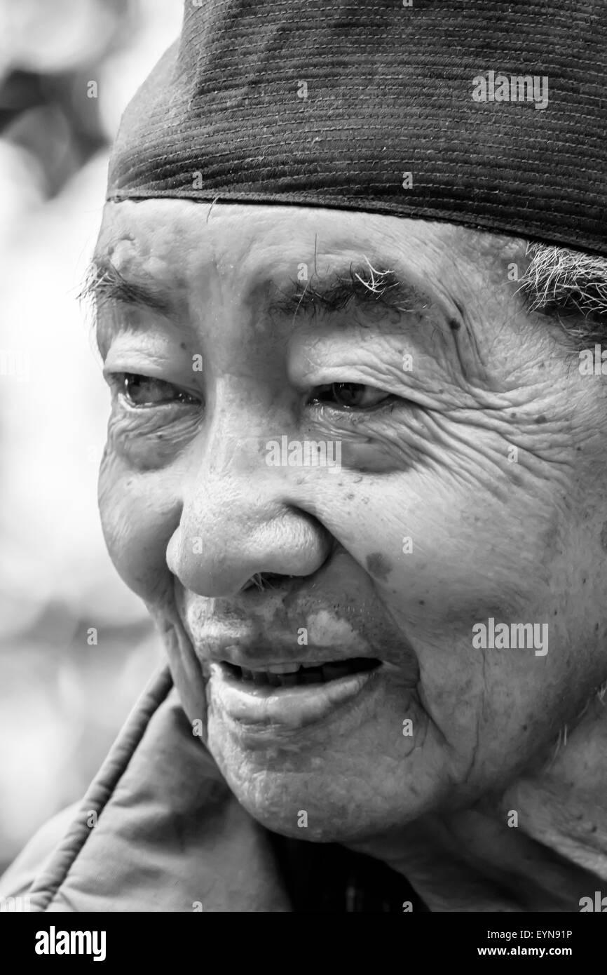 Portrait of an happy old man - Stock Image