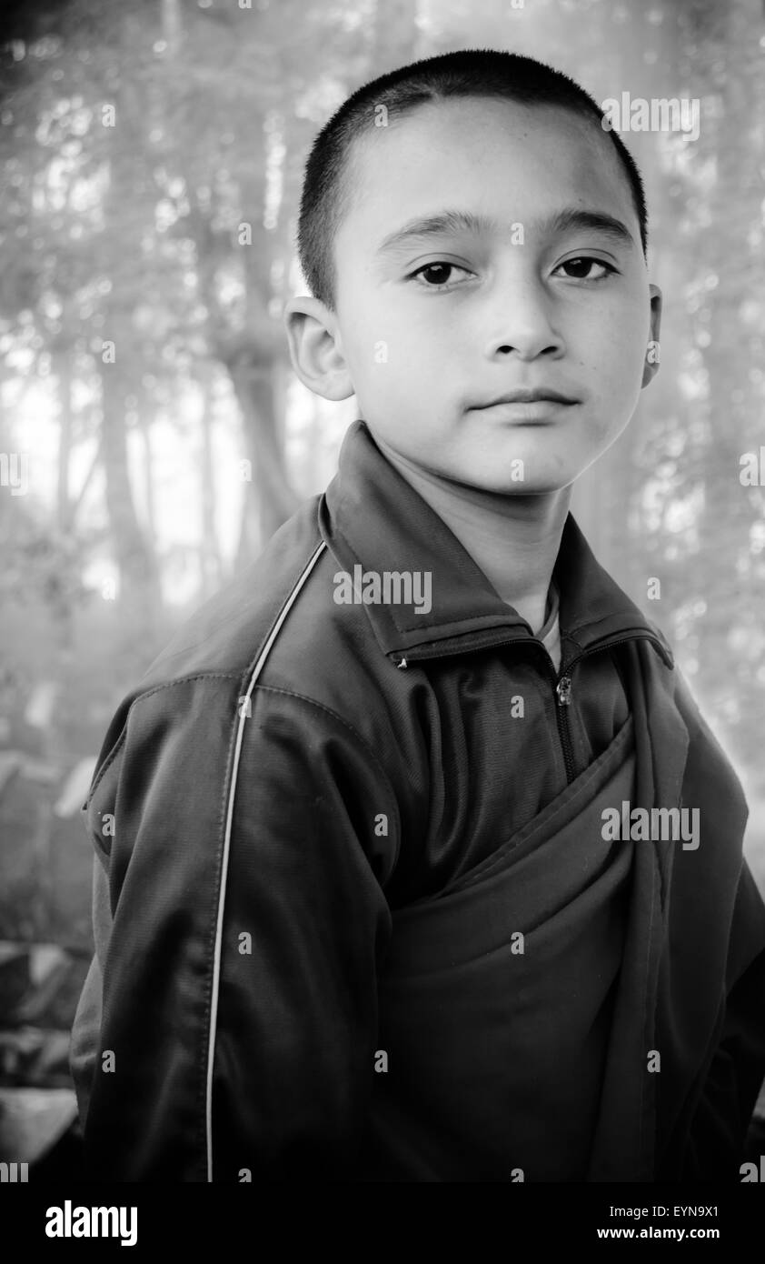 Portrait of a young Buddhist lama, monk with copy space - Stock Image