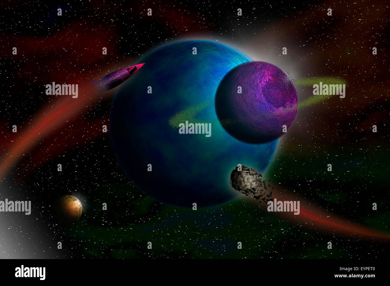 Planets and asteroids - Stock Image