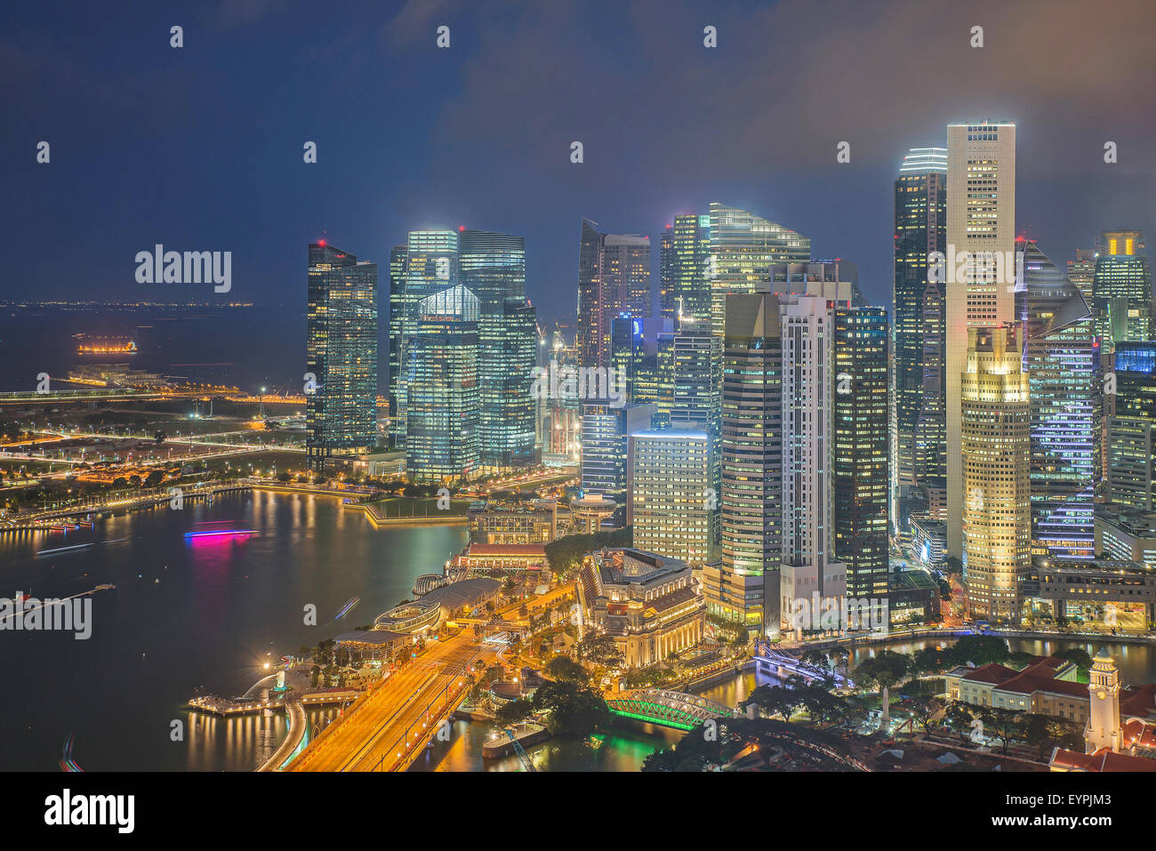 Financial district and business building in Singapore - Stock Image