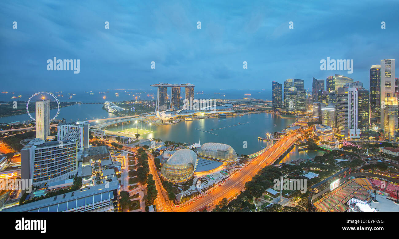 Singapore skyscrapers in downtown at evening time. - Stock Image