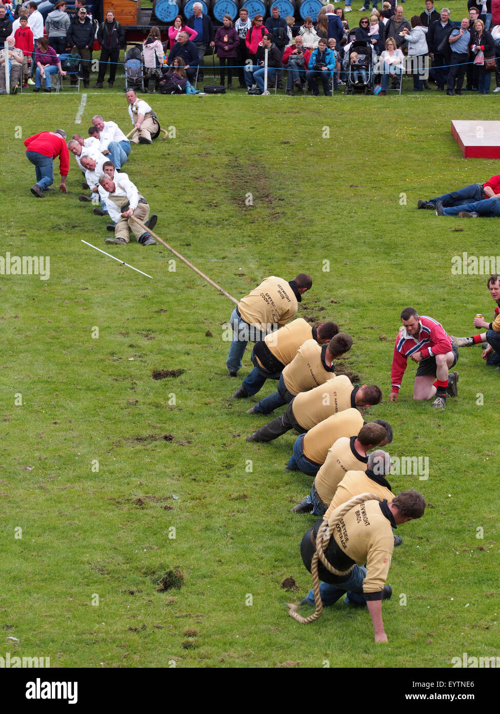 Dufftown, Scotland - July 25, 2015: Tug of War contest at a Scottish Highland Games event. Stock Photo