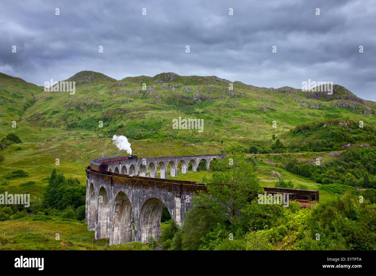 Glenfinnan Viaduct, Beinn an Tuim, Harry Potter, bridge, highlands, Scotland - Stock Image