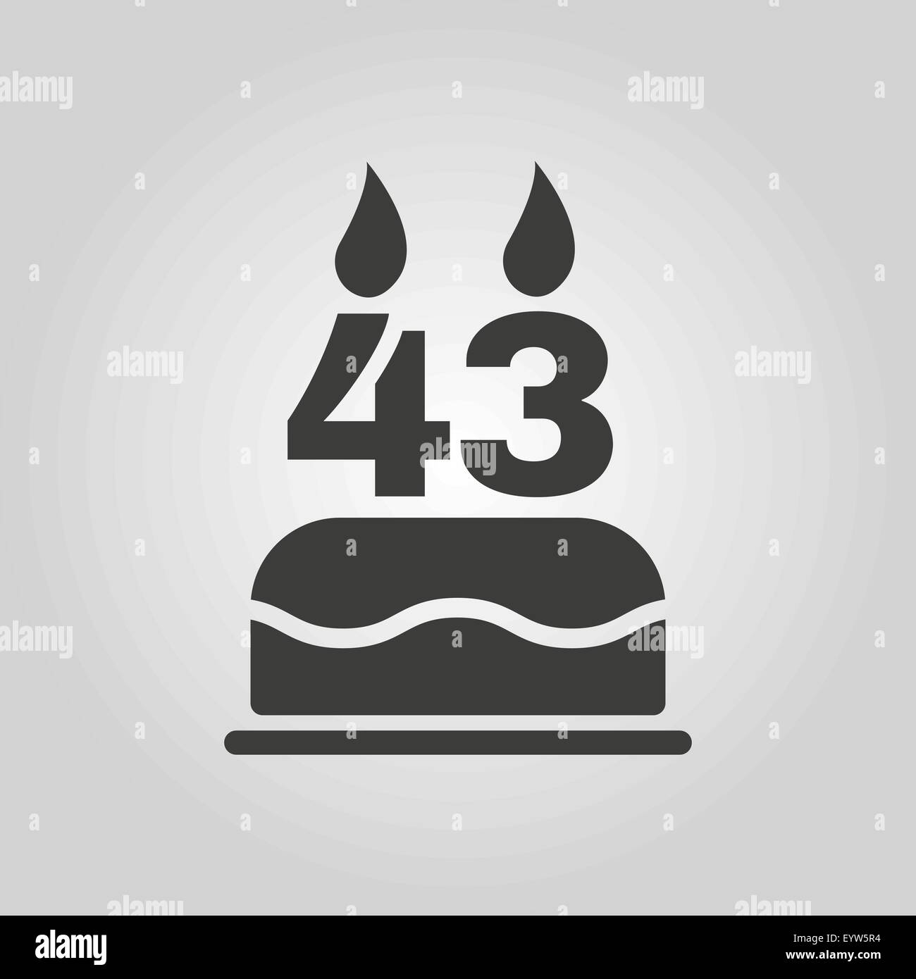 The Birthday Cake With Candles In The Form Of Number 43 Icon Stock