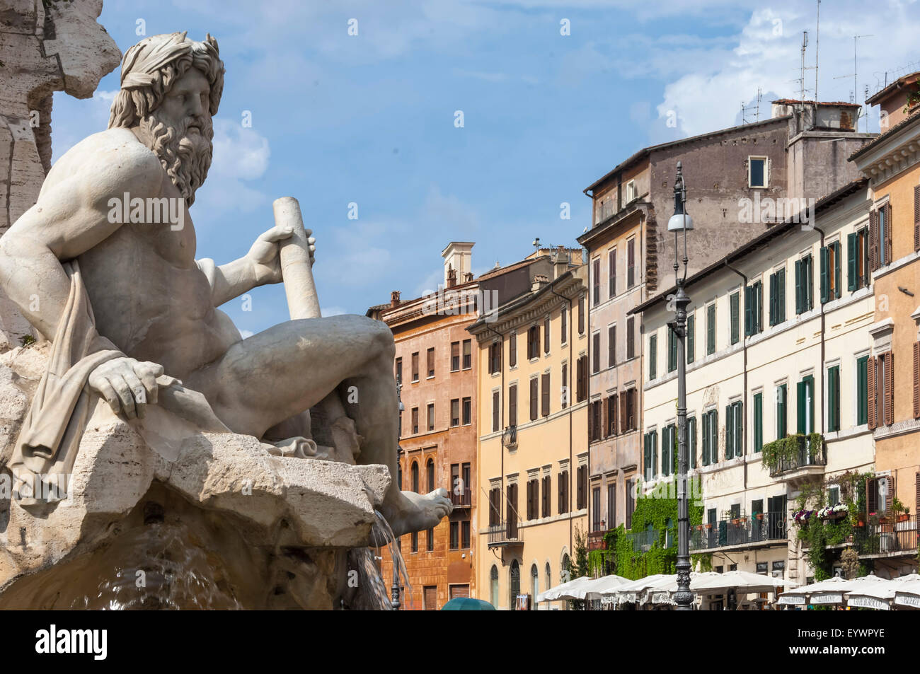 Detail of the Fountain of the Four Rivers, Piazza Navona, Rome, Lazio, Italy, Europe - Stock Image