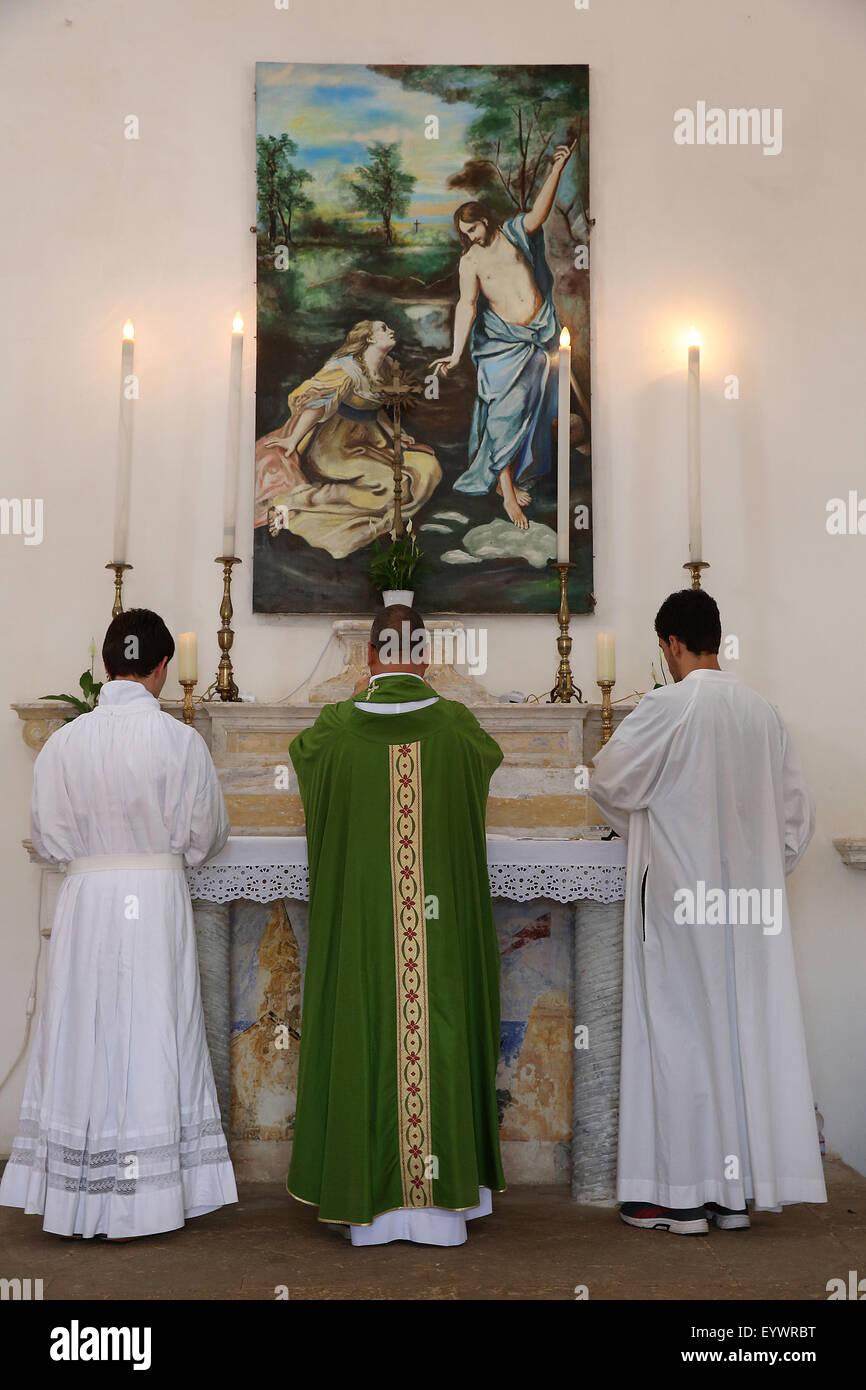 Mass in Castiglione, Puglia, Italy, Europe - Stock Image