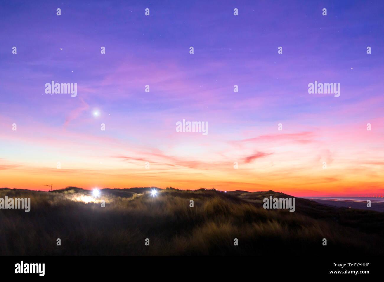 planet Venus over island Juist, Germany, Lower Saxony, Juist - Stock Image