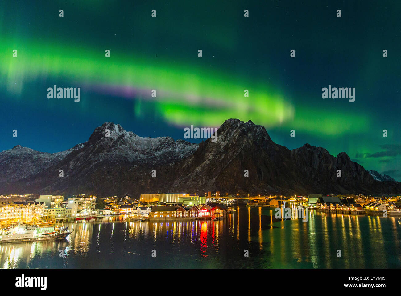 polar light above Svolaer, Norway, Lofoten Islands, Svolvaer - Stock Image