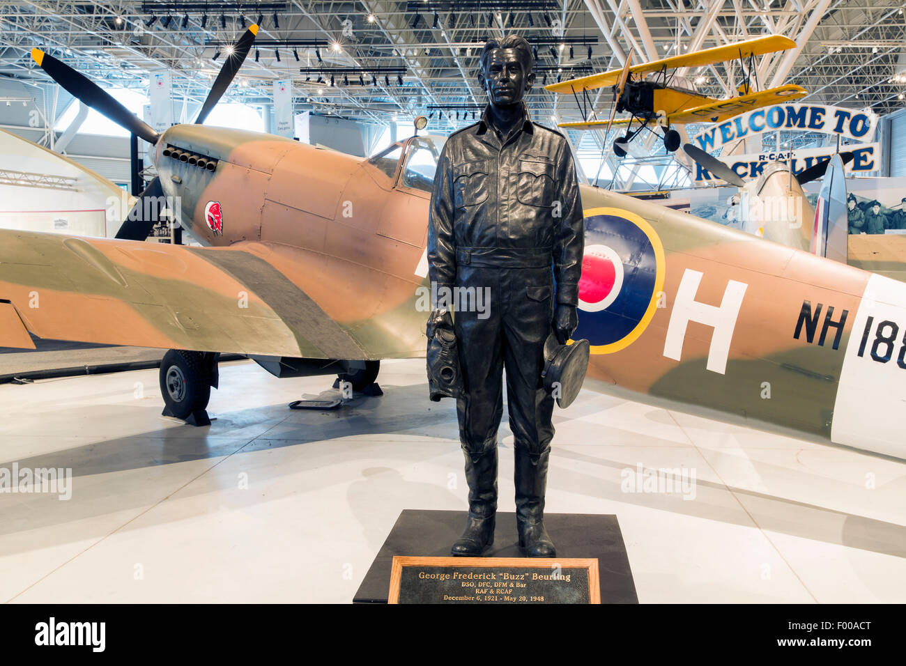 Canada,Ontario,Ottawa, Canada Aviation & Space Museum, statue of George Frederick 'Buzz' Beurling, Canadian - Stock Image
