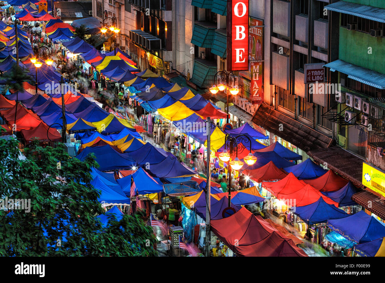 The night market of Kuala Lumpur during the month of Ramadhan. - Stock Image
