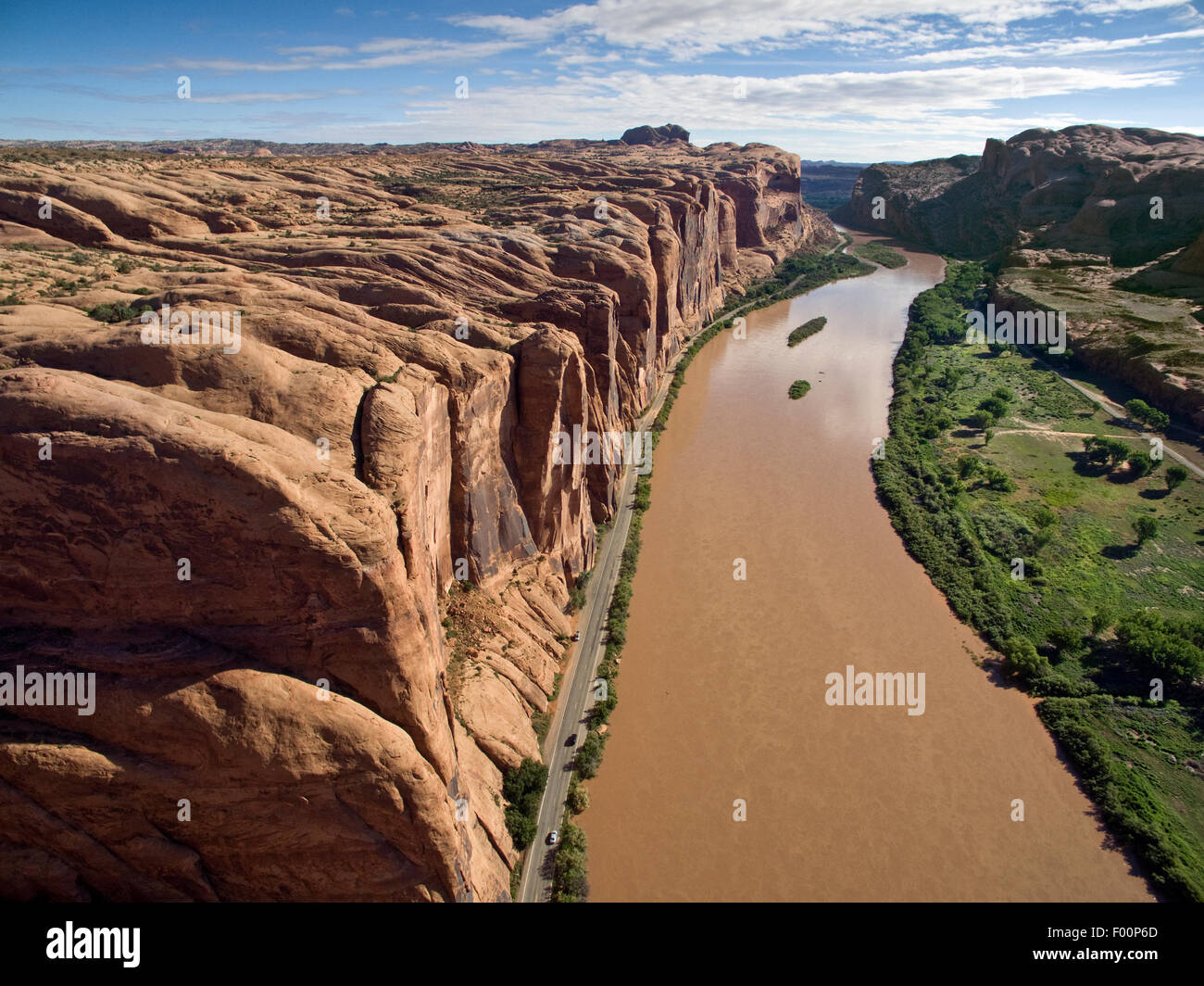 Aerial of Wall Street is an immense 500' high Wingate Sandstone cliff west of Moab, Utah - Stock Image