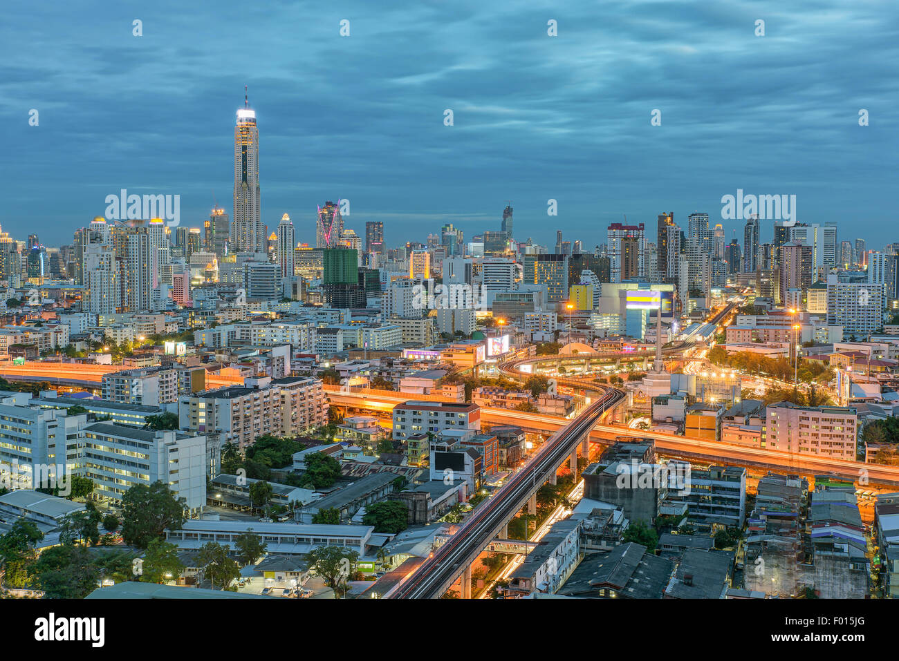 Bangkok city in night view with nice sky, Thailand - Stock Image