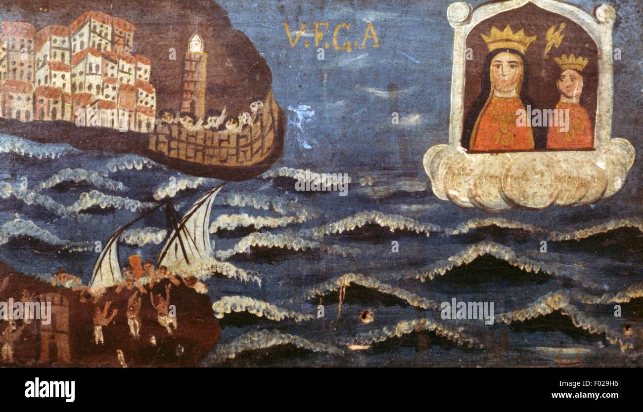 Shipwreck, seafaring ex voto, Italy. - Stock Image