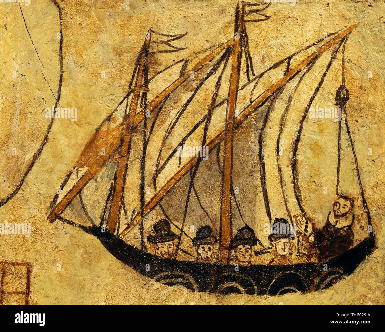 Sailing boat, seafaring ex voto, Italy, 16th century. - Stock Image
