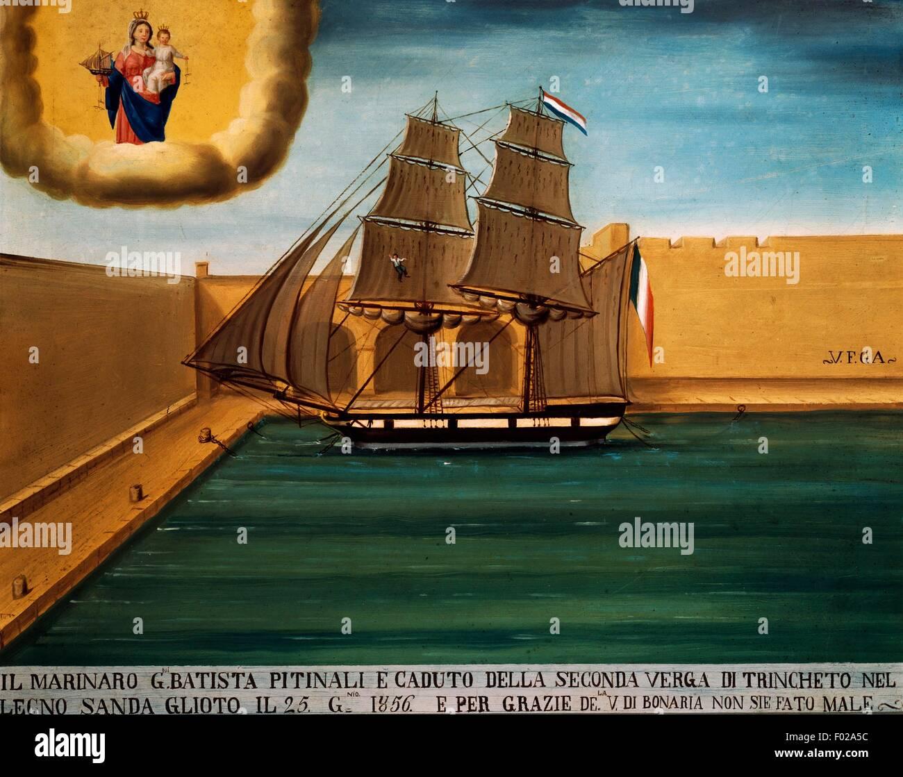 Tall Ship, seafaring ex voto, Italy, 1856. - Stock Image