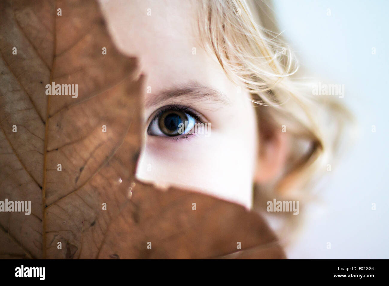 Portrait of a girl hiding behind leaf - Stock Image