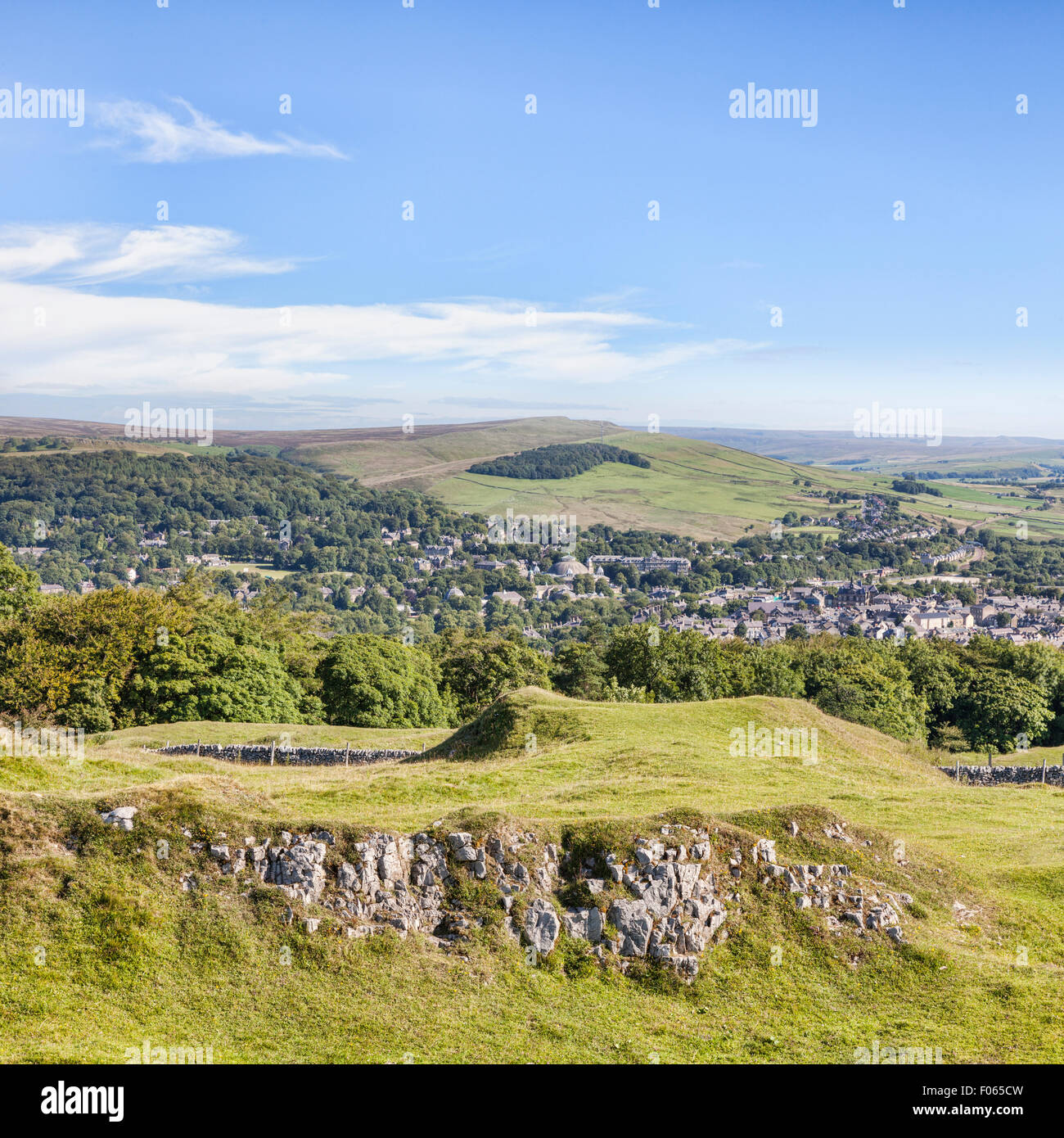 The Peak District town of Buxton from Grin Low and Buxton Country Park, Derbyshire, England - Stock Image