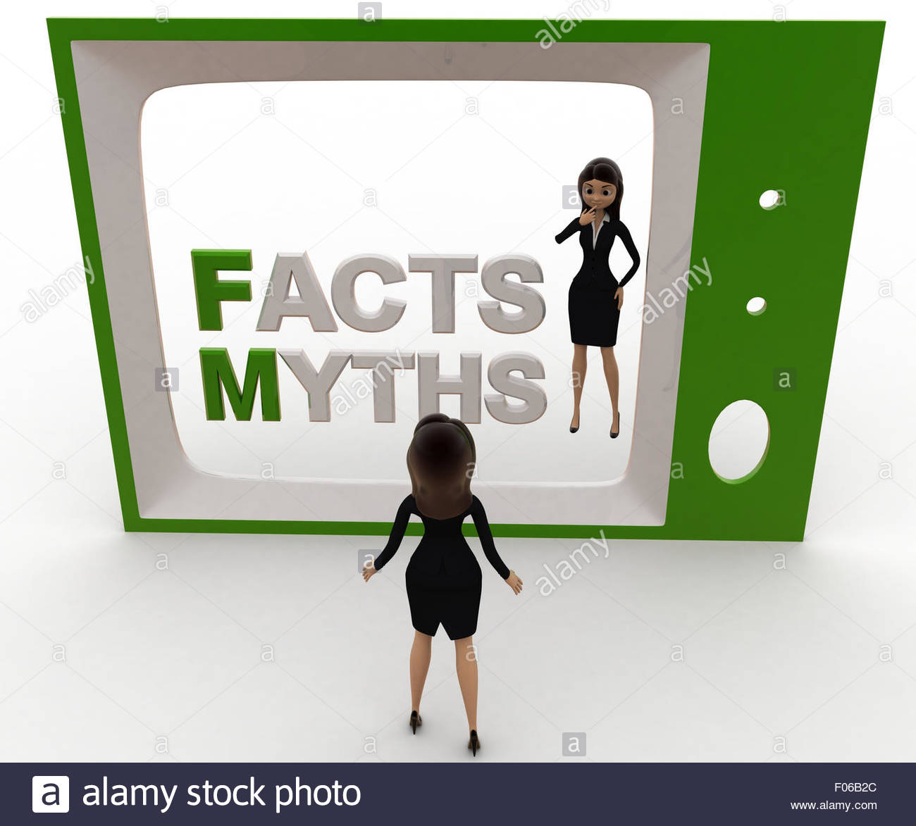 3d woman watching fact and myths on tv concept on white background, front angle view - Stock Image