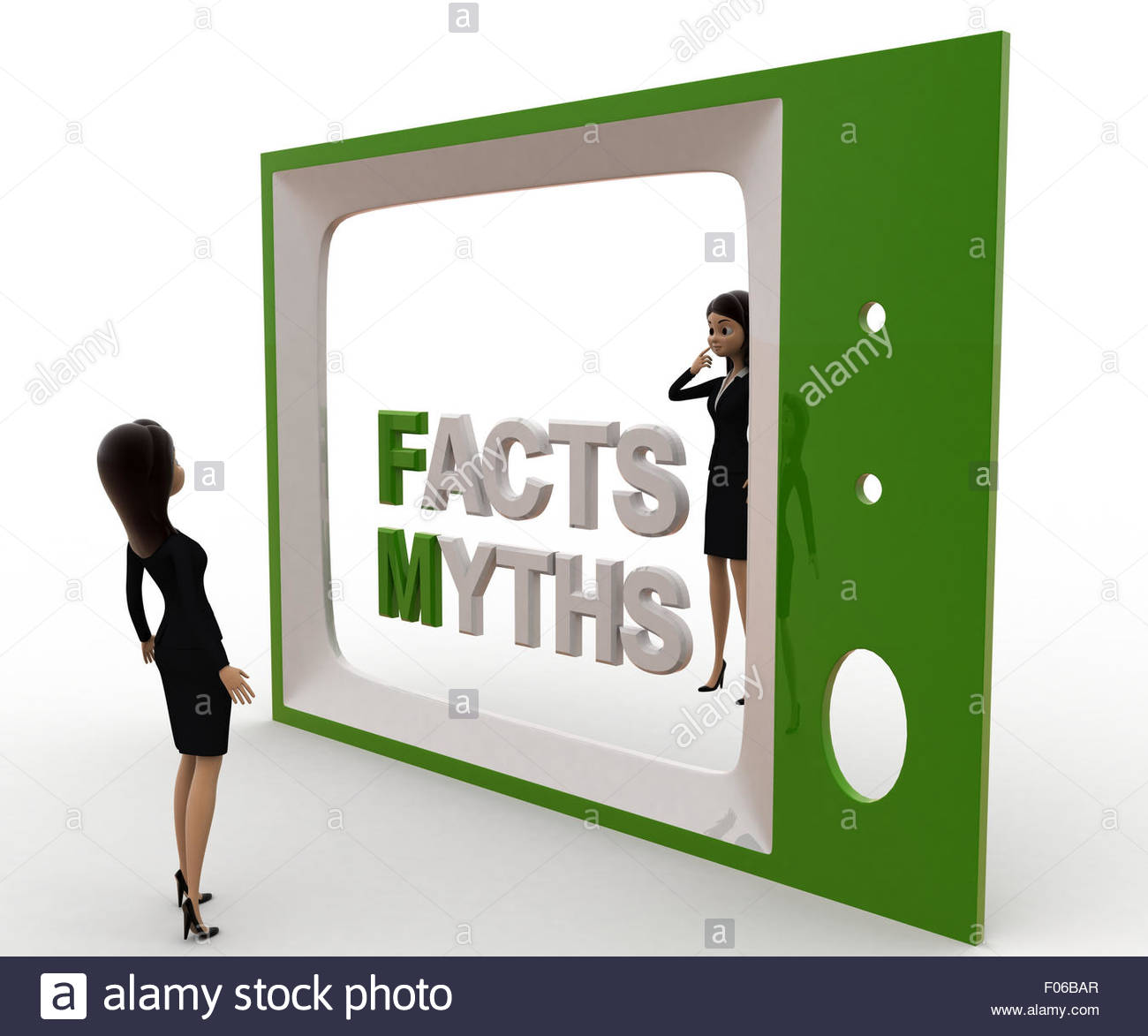 3d woman watching fact and myths on tv concept on white background, side  angle view - Stock Image