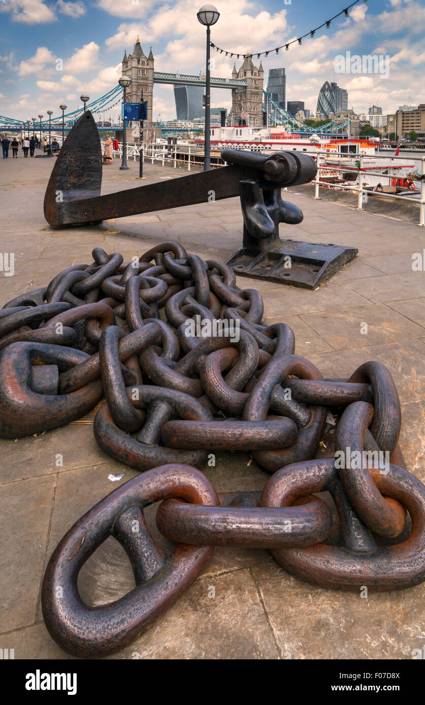 Anchor and chains on Butler's Wharf by Tower Bridge Stock Photo