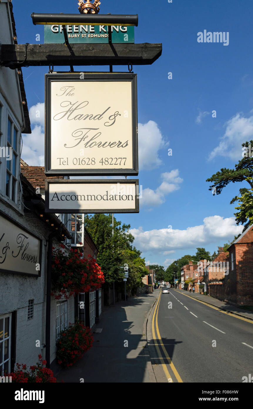 The Two Michelin Star rated restaurant called The Hand and Flowers in Marlow, England, UK. - Stock Image