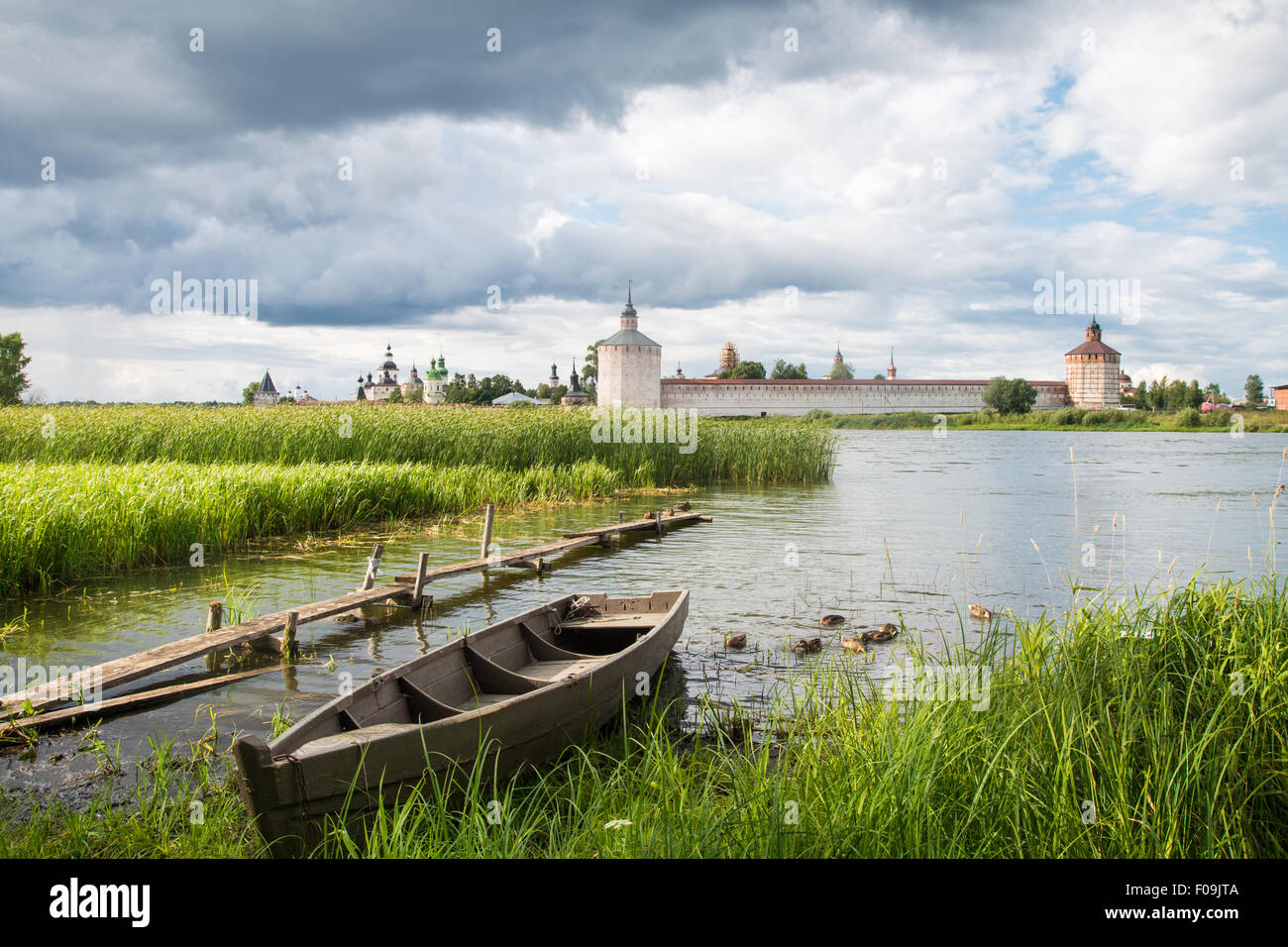 View Cyril Belozersky Monastery sunny summer day - Stock Image