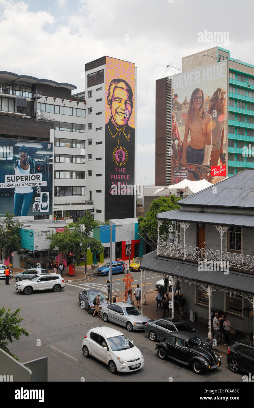 South Africa, Johannesburg. Redevelopment in the Braamfontein area of the city centre. Mandela advert - Stock Image