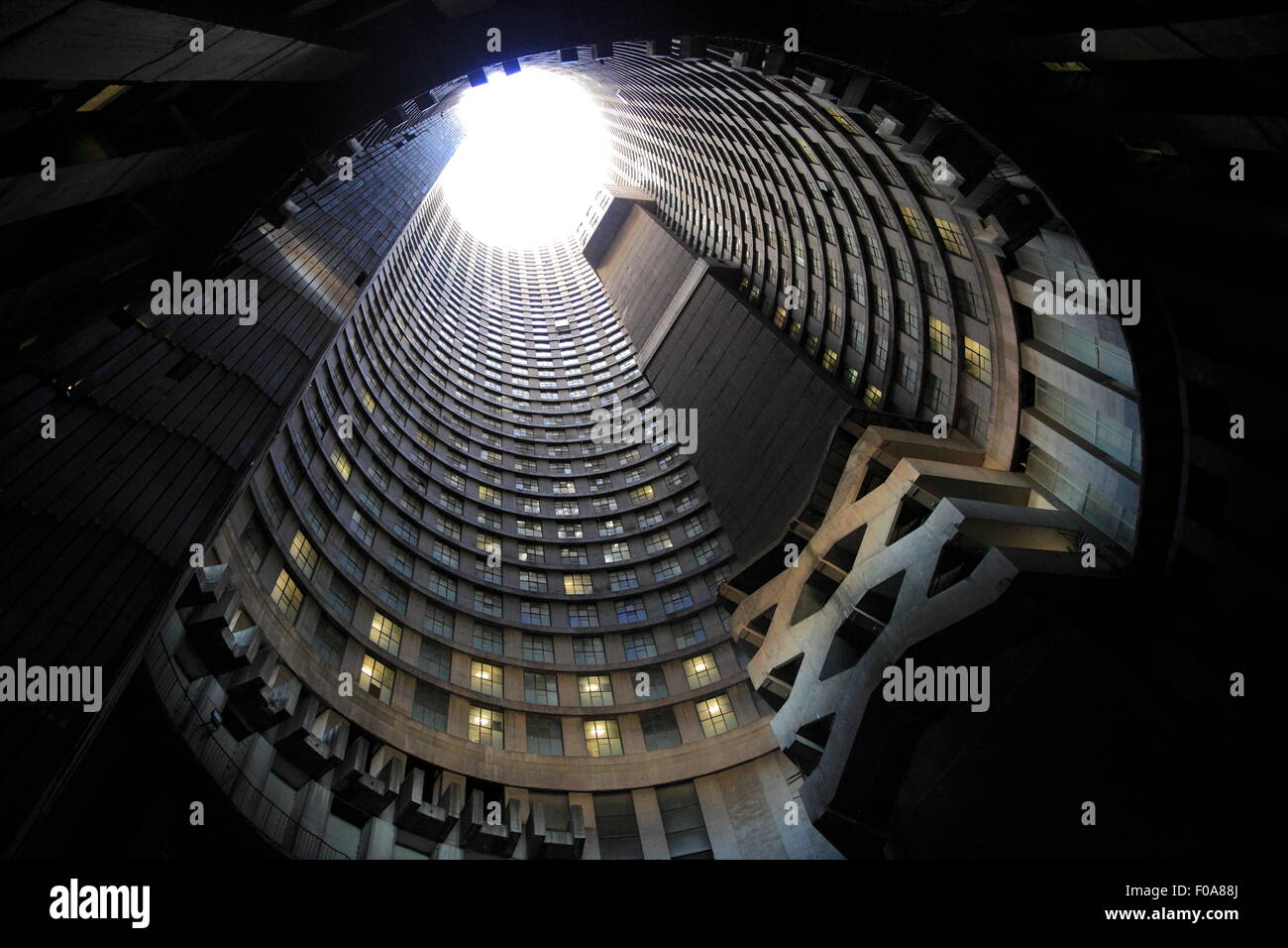 South Africa, Johannesburg. Hillbrow. Tour of Ponte Tower from inside. - Stock Image