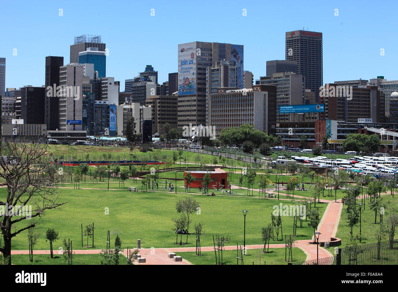 South Africa, Johannesburg. View from Joburg's first tour bus of the inner city CBD and park near Newtown. - Stock Image