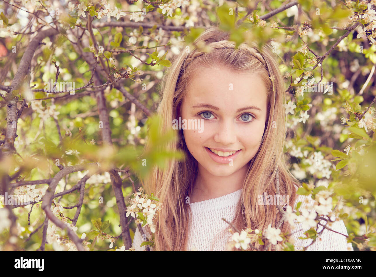 Portrait of pretty girl and tree blossom - Stock Image