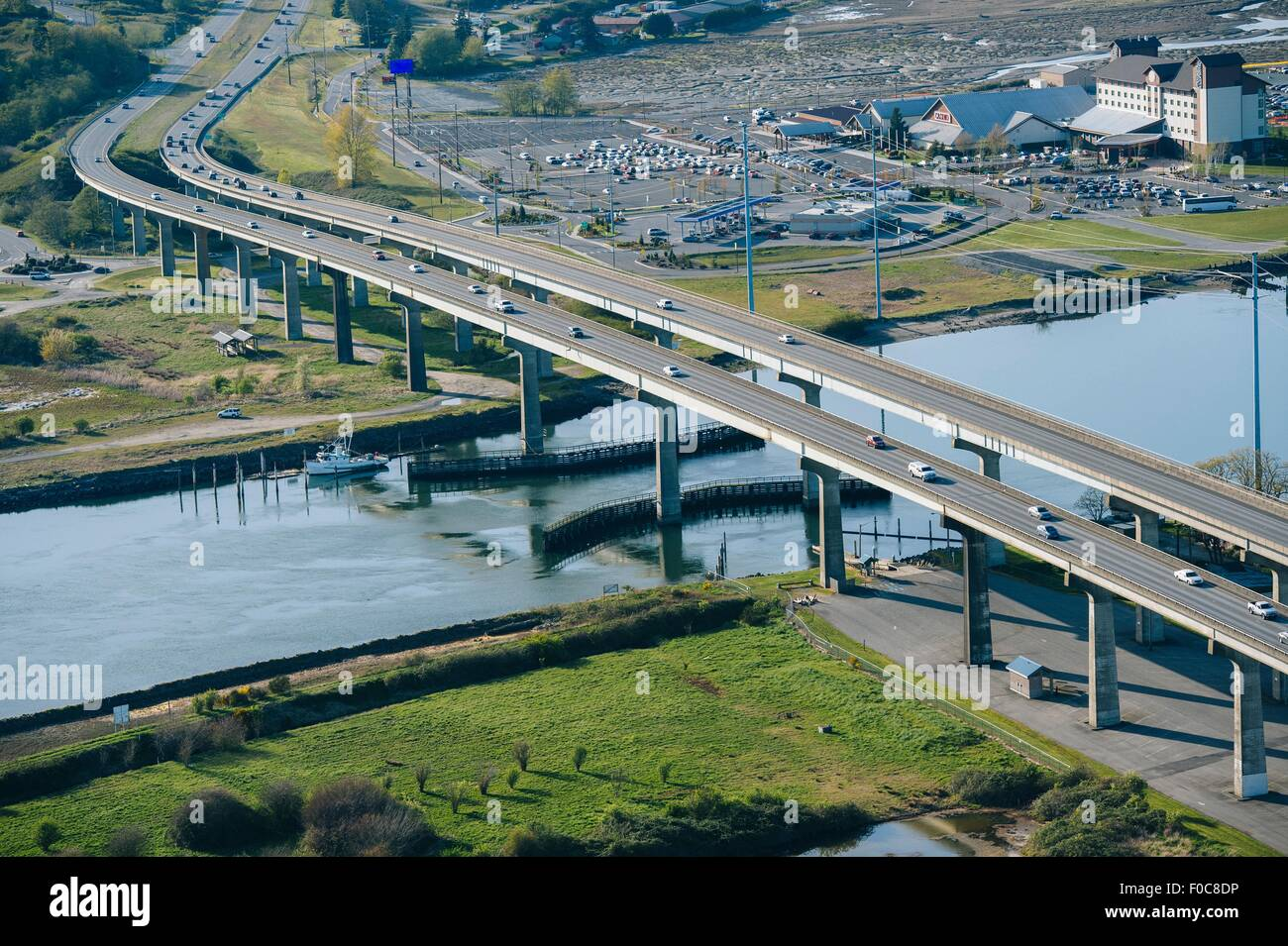 Aerial view of traffic on river highway flyover - Stock Image