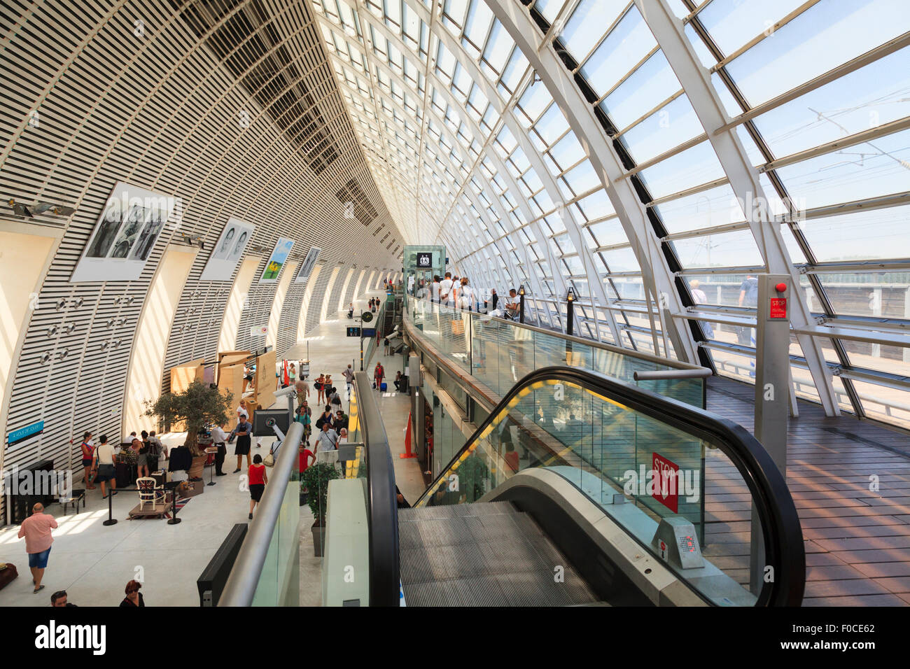 Escalator Inside the modern architectural Avignon TGV railway station - Stock Image