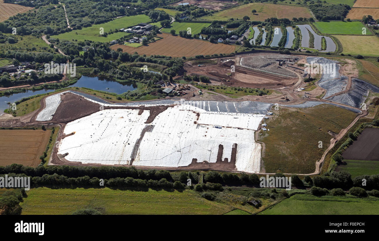 aerial view of a waste tip recycling plant at Rixton near Warrington, Cheshire, UK - Stock Image