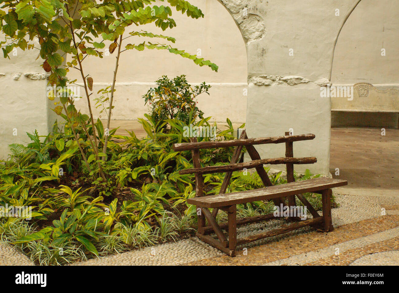 Garden at The Alamo, San Antonio Texas, USA  - Now a tourist attraction, the garden is in back of the fortress. Stock Photo