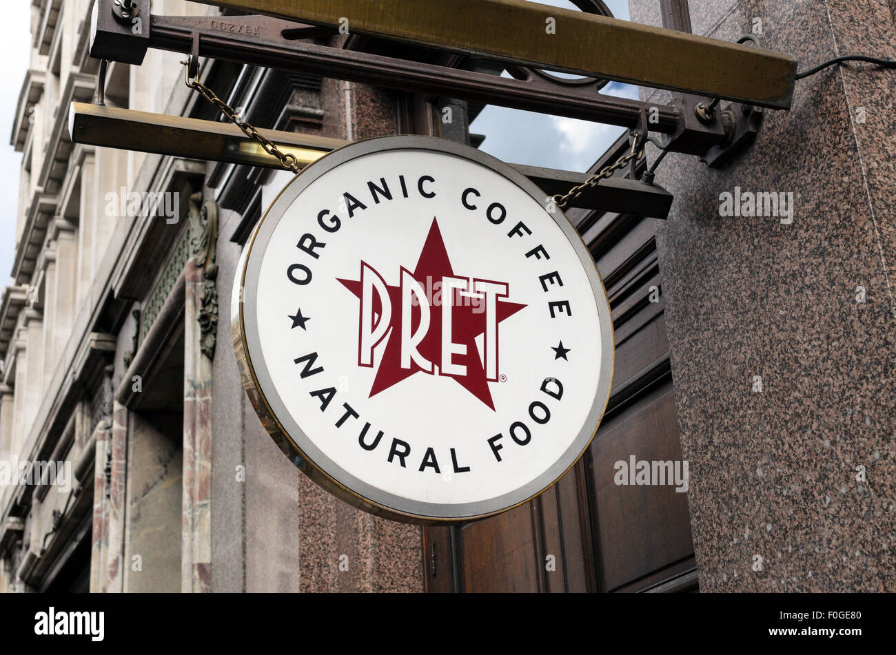 A sign outside a UK Branch of Pret a Manger. - Stock Image